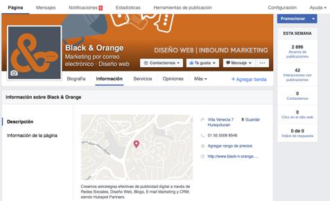 Como llenar la información en una página de negocio de Facebook