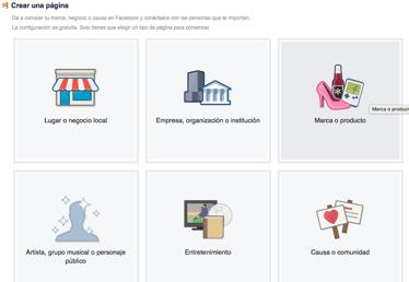 Como elegir el tipo de página en Facebook